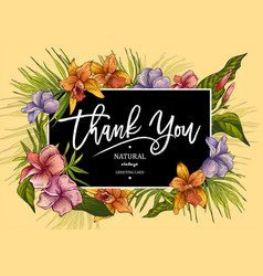 The vintage tropical greeting card with plants vector