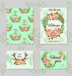 wedding set for decoration magic floral and vector image