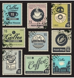 stamps on the theme of coffee vector image