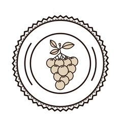 Silhouette monochrome of dish with grapes vector