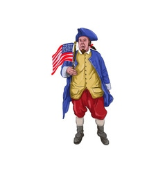 American patriot shouting holding flag watercolor vector