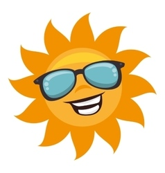 sun with sunglass character vector image