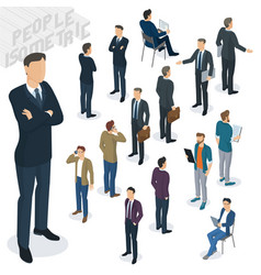 Isometric people in office vector