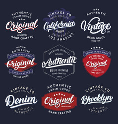 Big set of california vintage brooklyn denim vector
