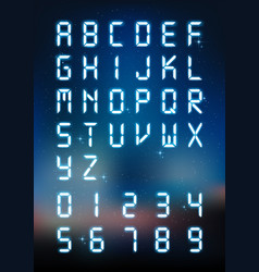 Glow digital alphabet and number for digital text vector