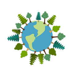 Earth and trees green planet vegetation on land vector
