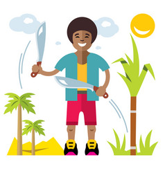 Man with machete flat style colorful vector