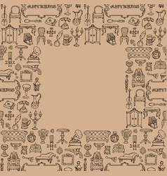 Antiques doodle seamless frame vector