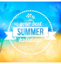 Summer tropical beach background with badge vector