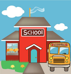 School with a bus vector