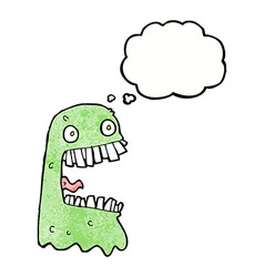 Cartoon gross ghost with thought bubble vector