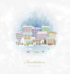 Vintage invitation card with winter city scenery vector
