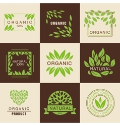 Eco organic labels set vector