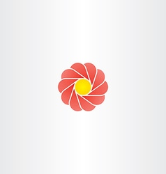 Yellow red flower circle logo sign vector