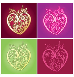 Curve floral heart for valentine ornament vector
