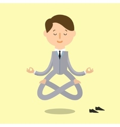 Cartoon business man is doing yoga vector image
