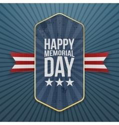 Happy memorial day textile label and ribbon vector