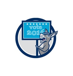 Vote 2016 democrat donkey mascot circle cartoon vector