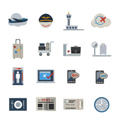 Airport icons set flat icons set for website and vector