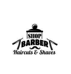 Barbershop mustache and razor icon vector