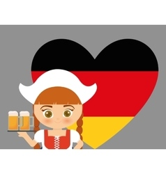 Beer Oktoberfest flag girl cartoon costume icon vector image vector image