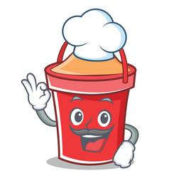 chef bucket character cartoon style vector image vector image