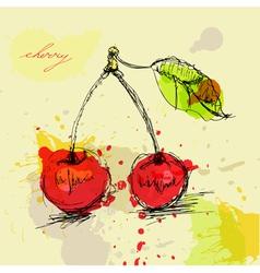 cherry grunge vector image vector image