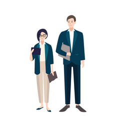 couple of people dressed in business clothes or vector image vector image