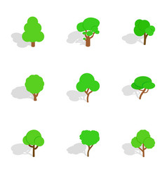 different trees icons isometric 3d style vector image vector image