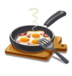 fried eggs with bacon vector image vector image