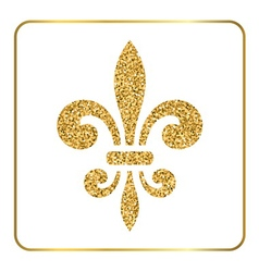 Golden fleur-de-lis heraldic emblem 2 vector image