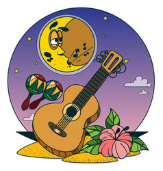 Guitar and maracas color of a summer theme vector
