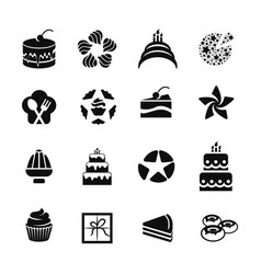 isolated black color icons cakescupcakesdonuts vector image