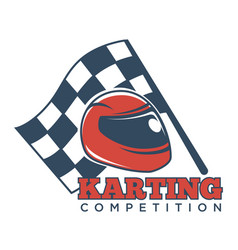 Karting competition logotype with helmet for races vector