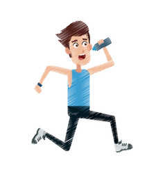 man drinking water while running icon image vector image vector image