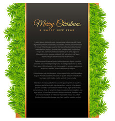 Merry christmas greeting design with green pine vector