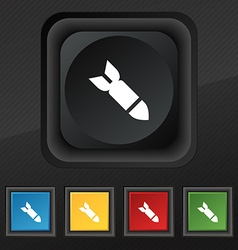 Missilerocket weapon icon symbol set of five vector