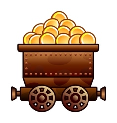 Old mine cart with coins vector