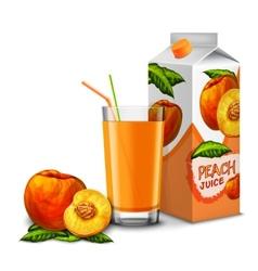 Peach juice set vector image vector image