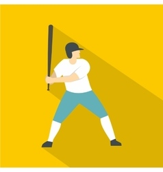 Professional baseball player icon flat style vector