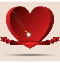 Red heart with a ribbon and a gold chain diamond vector