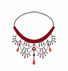 ruby necklace vector image vector image
