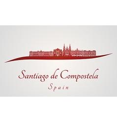 Santiago de compostela skyline in red vector