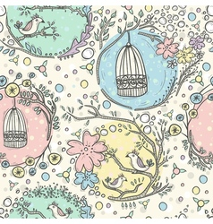 Seamless pattern with birdcages flowers and birds vector image vector image