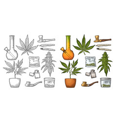 Set marijuana vintage black and color vector