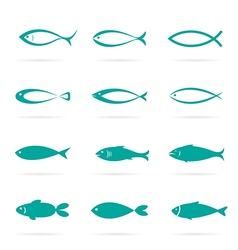 Set of fish icons on white background vector image vector image