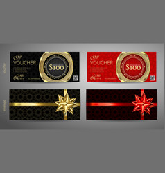 set of gift voucher template with premium pattern vector image