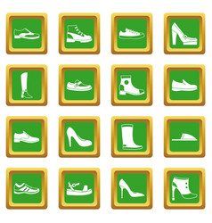 Shoe icons set green vector