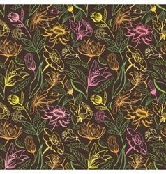 Vintage brown floral pattern vector image