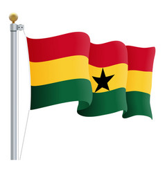 waving ghana flag isolated on a white background vector image vector image